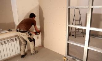 Монтаж стены из ГКЛ