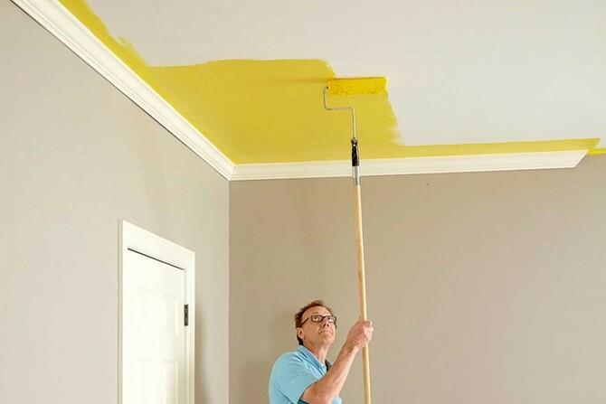 Покраска водоэмульсионкой потолка